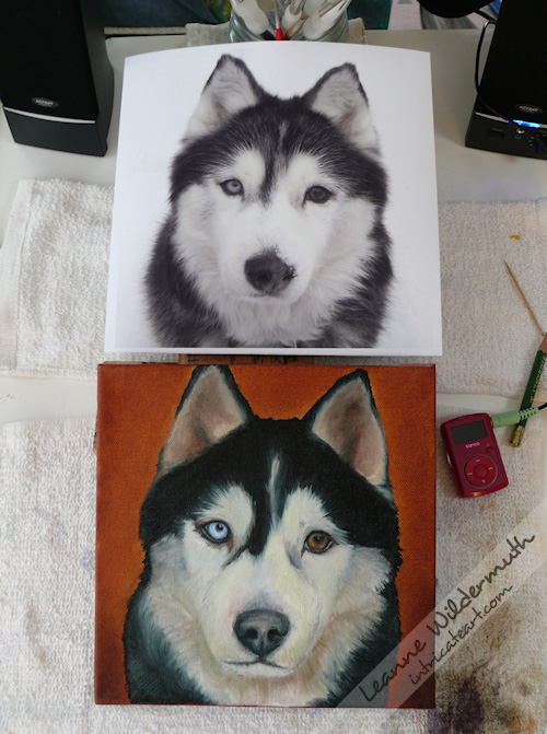 dog portrait in progress Taysia Blue by Leanne Wildermuth