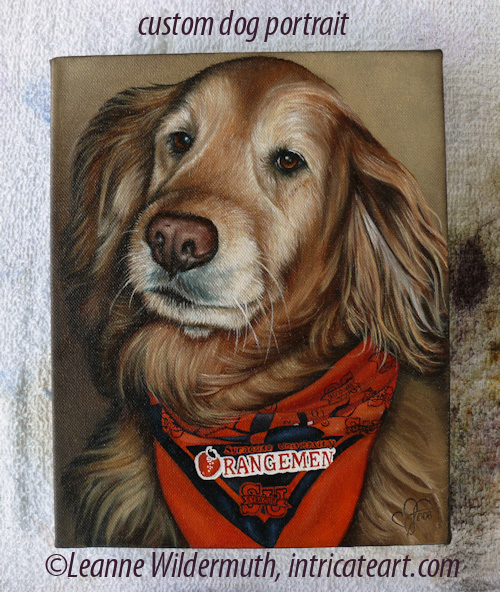 dog portrait golden retriever oil painting custom art leanne wildermuth