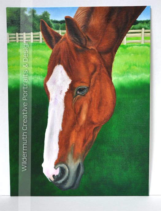 chestnut horse painting portrait progress by Leanne Wildermuth