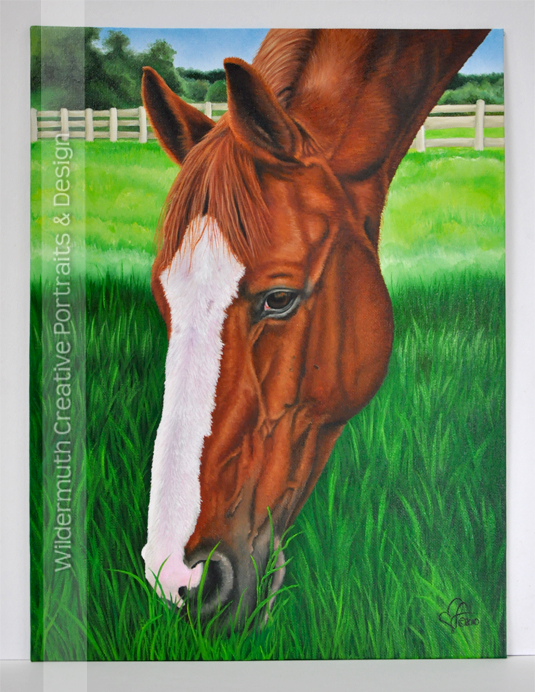 Chestnut horse portrait custom painting oil on canvas by Leanne Wildermuth
