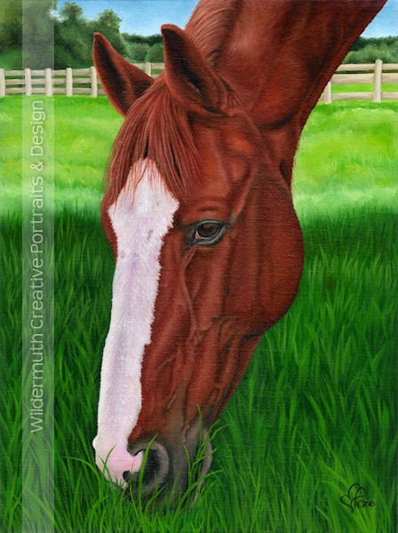 Chestnut Horse portrait original oil painting by Leanne Wildermuth