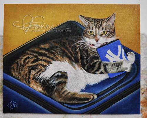 Custom cat portrait painting by Leanne Wildermuth