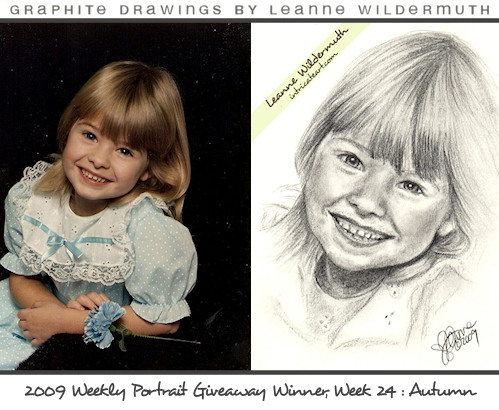 pencil portrait girl drawing by Leanne Wildermuth