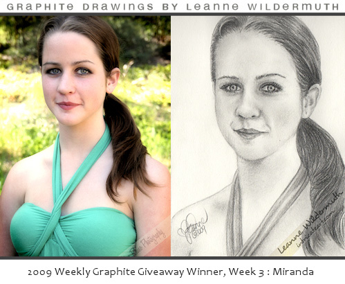 Custom portrait giveaway week 3 woman drawing by Leanne Wildermuth