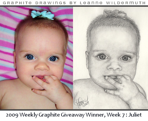 baby portrait pencil drawing by Leanne Wildermuth