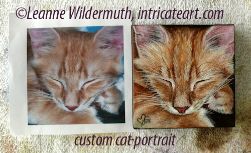 custom cat painting portrait orange tabby kitty leanne wildermuth
