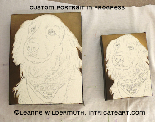 custom dog portrait golden retriever oil painting progress leanne wildermuth