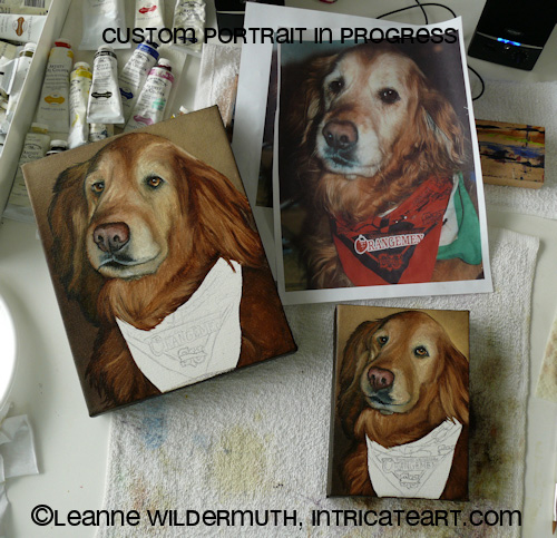 Custom dog painting in progress