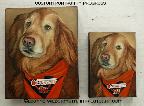 golden retriever dog portrait custom art oil leanne wildermuth