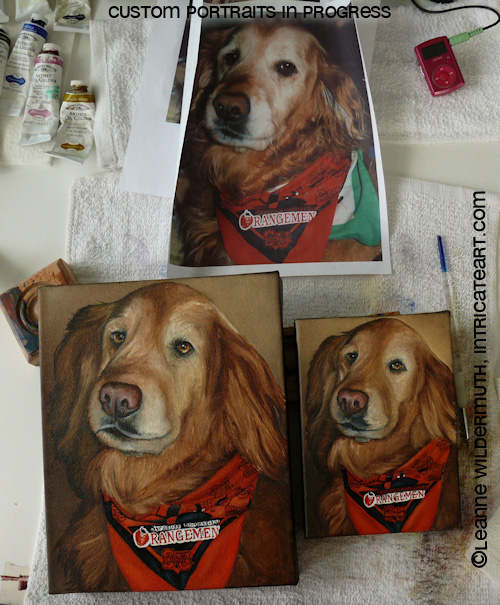 golden retriever painting dog oil portrait art leanne wildermuth